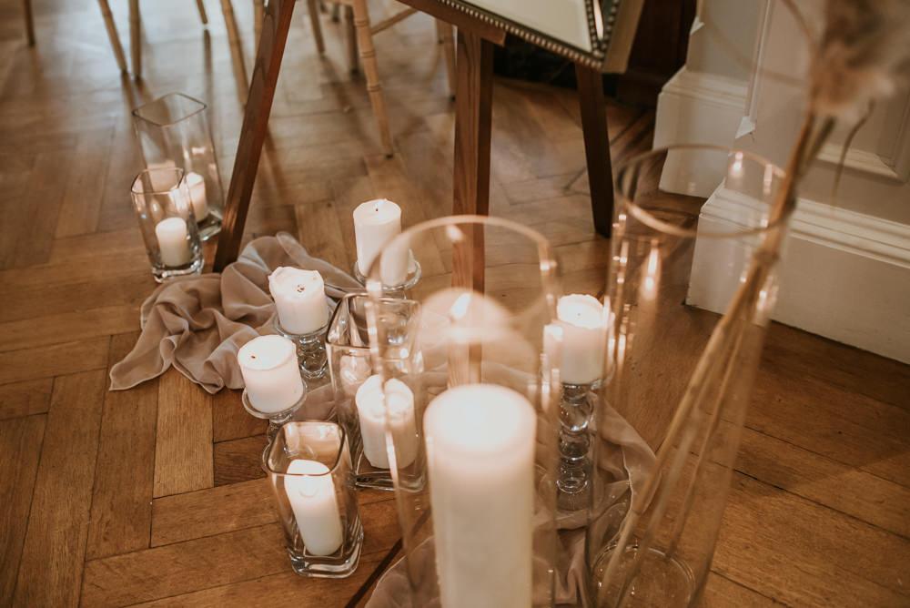 Pillar Candles Aisle Decor Ceremony Chippenham Park Wedding Daniel Ackerley Photography