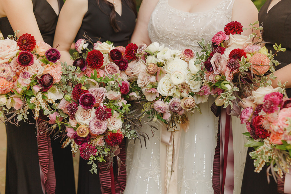 Bouquet Flowers Bride Bridal Bridesmaid Red Burgundy Dahlia Rose Ribbons Enchanted Forest Wedding Kristen Booth Photography