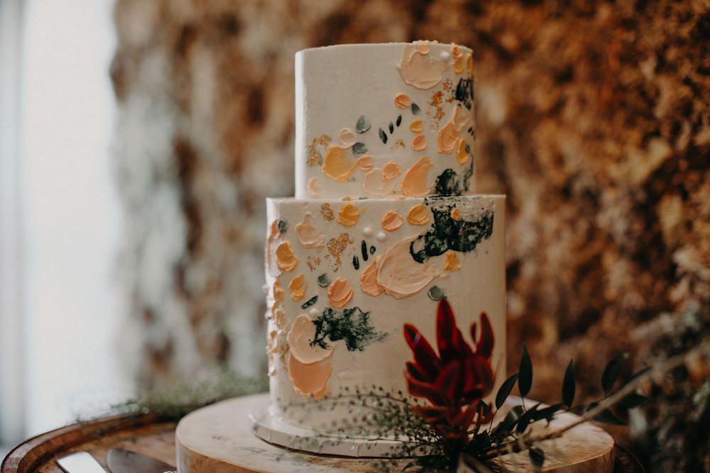 Painted Cake Brush Stoke Barrel Georgia Wedding Aline Marin Photography