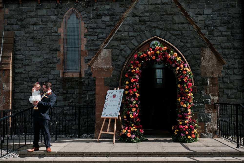 Flower Arch Church Ceremony Colourful Glenarm Castle Wedding Jonathan Ryder Photography