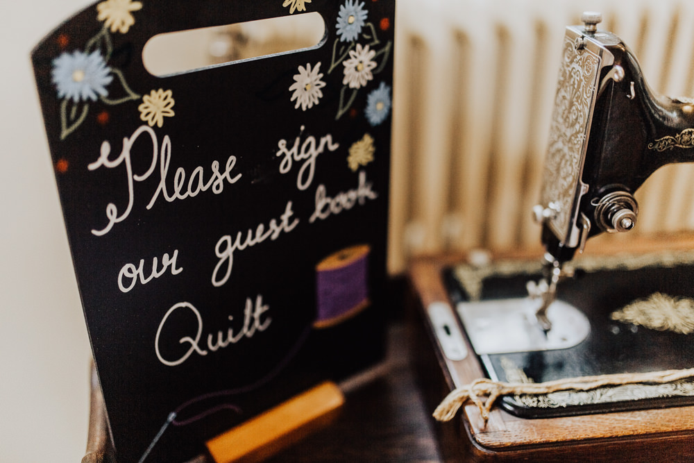 Sewing Machine Quilt Guest Book Homemade Wedding Wyldbee Photography