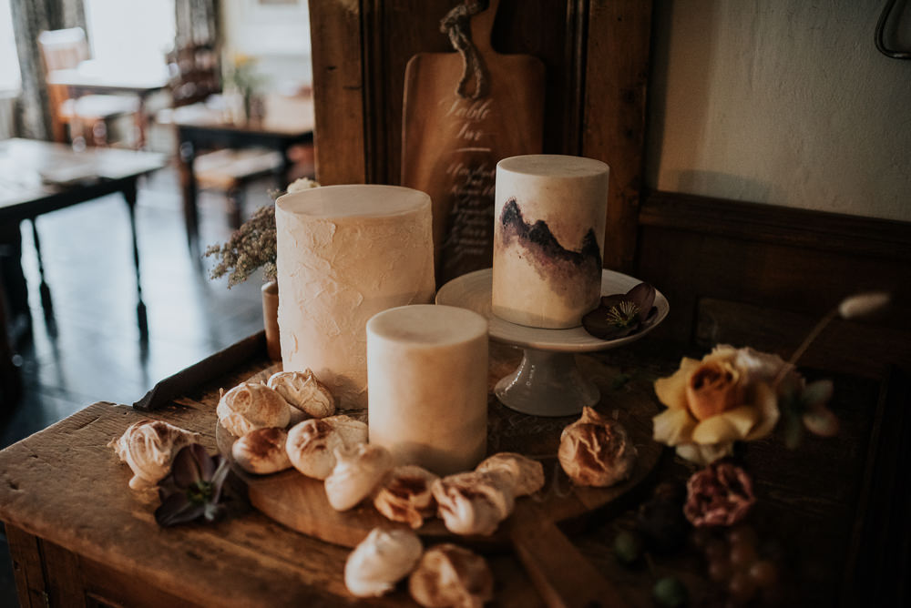 Cake Table Iced Cakes Painted Lake District Elopement Jenny Appleton Photography