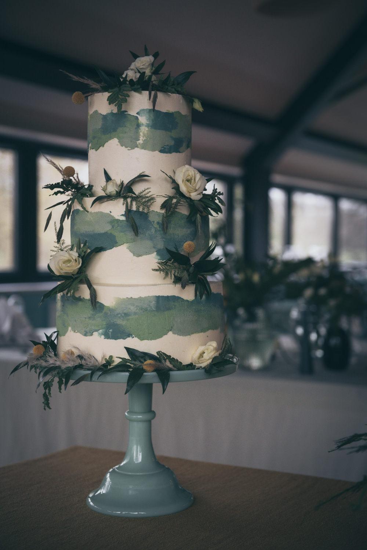 Green Watercolour Cake Painted Greenery Foliage Modern Wedding Ideas Cat Arwel Photography