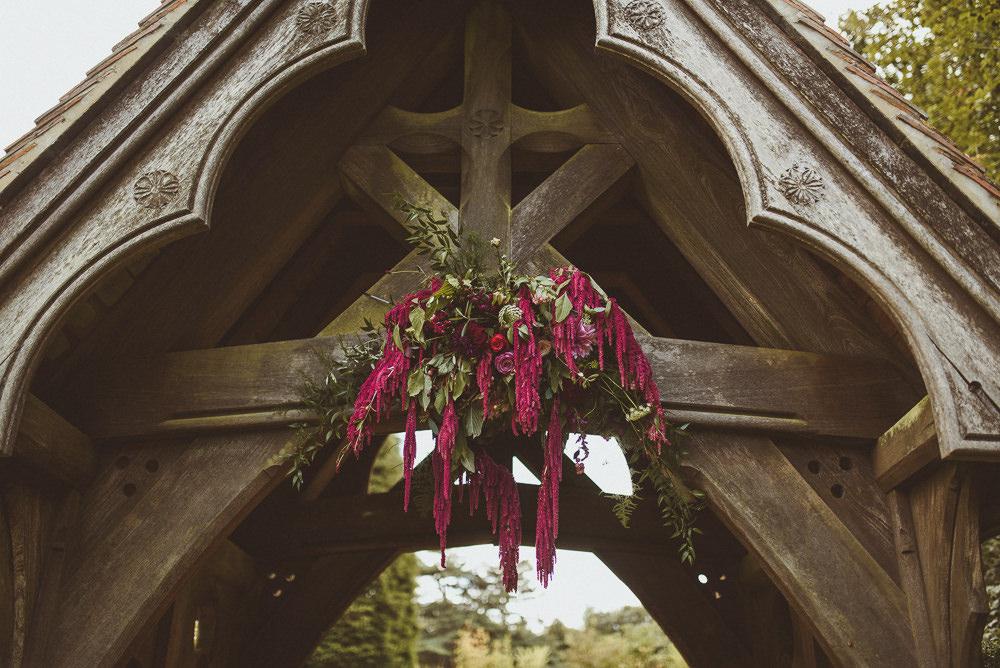 Church Arch Flowers Old Greens Barn Wedding Matt Penberthy Photography