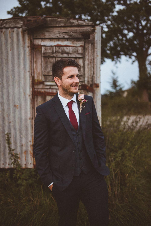 Groom Groomsmen Suit Waistcoat Red Tie Old Greens Barn Wedding Matt Penberthy Photography