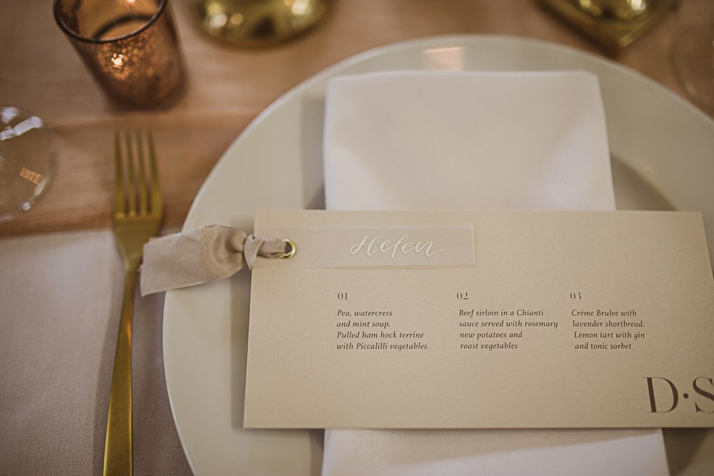 Place Setting Menu Card Small Wedding Ideas The Springles