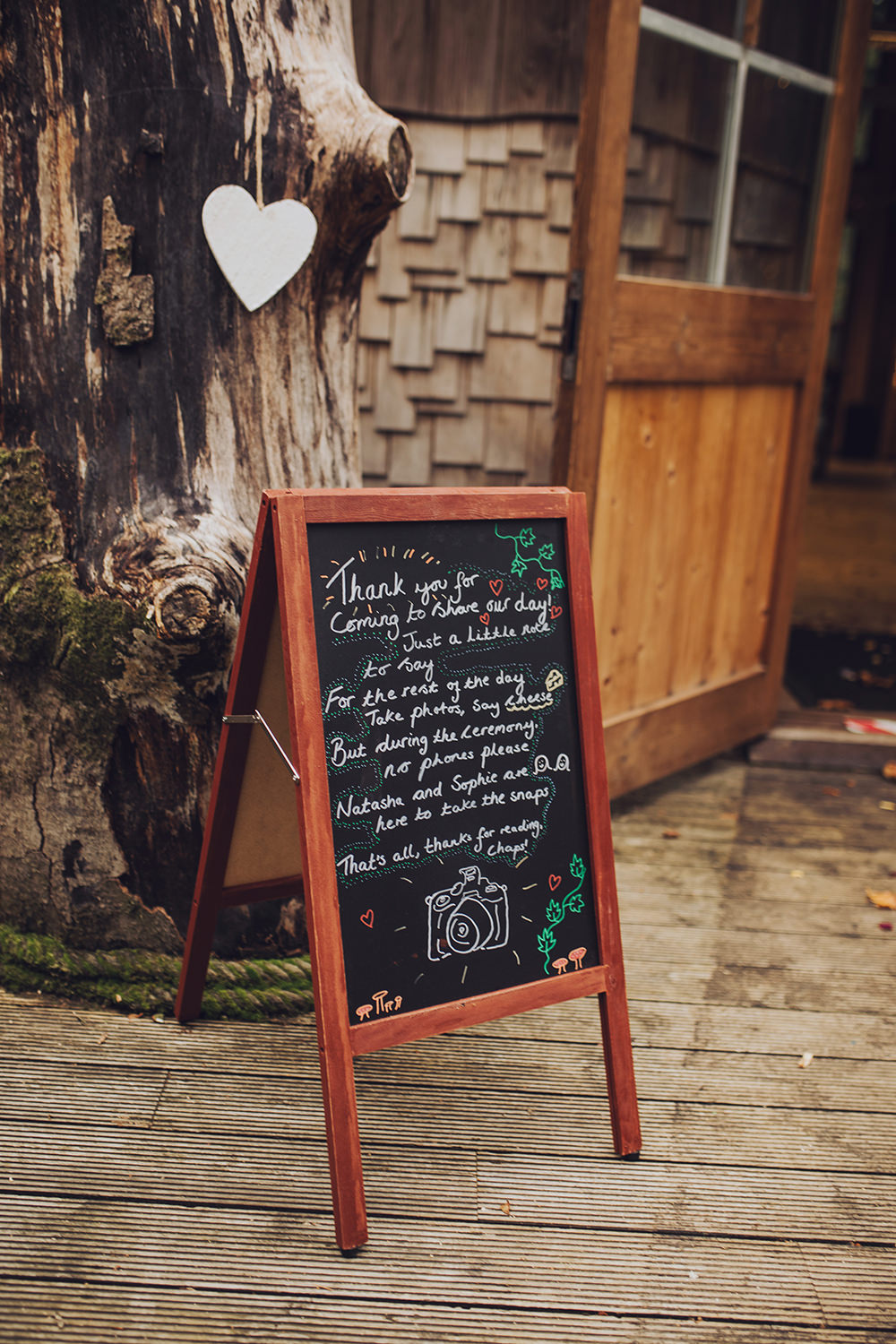 Sign Signs Signage Unplugged Ceremony Treehouse Wedding Honeydew Moments