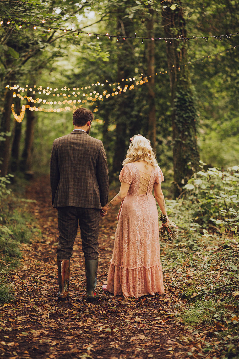 Pink Dress Gown Bride Bridal Boho Sisters Of The Tribe Treehouse Wedding Honeydew Moments