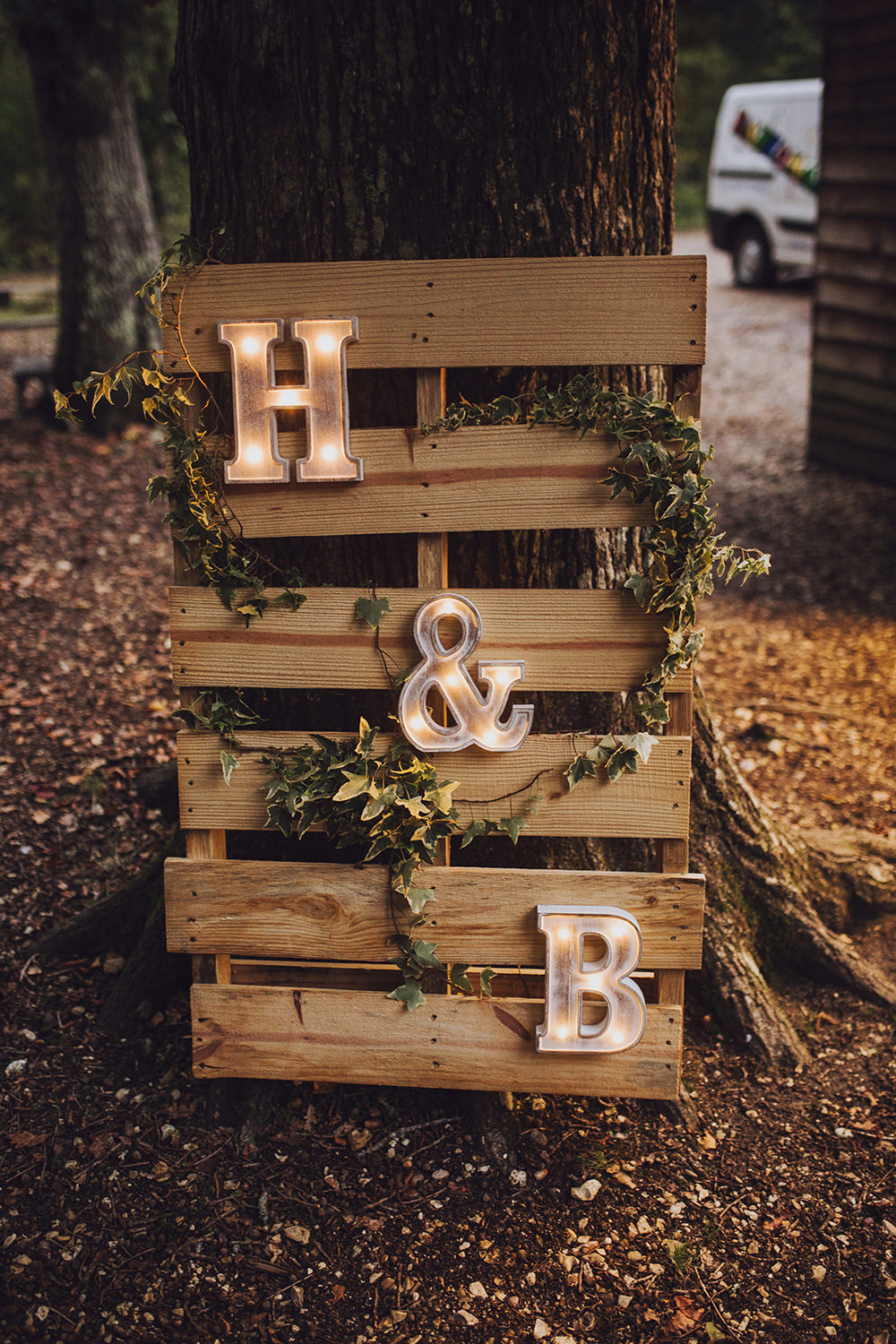 Wooden Pallet Sign Lights Letters Treehouse Wedding Honeydew Moments