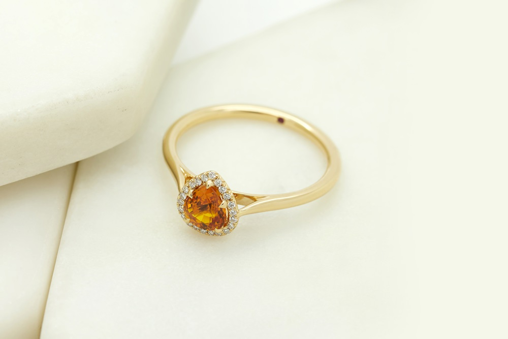 Colours of Sapphires Engagement Ring Wedding Band Pear Cut Orange
