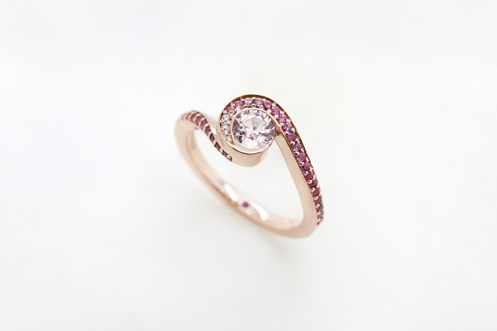 Colours of Sapphires Engagement Ring Wedding Band Rose Gold Pink