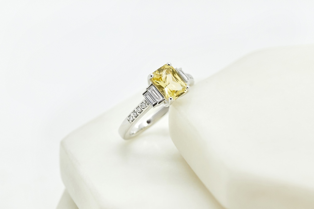 Colours of Sapphires Engagement Ring Wedding Band Yellow Art Deco