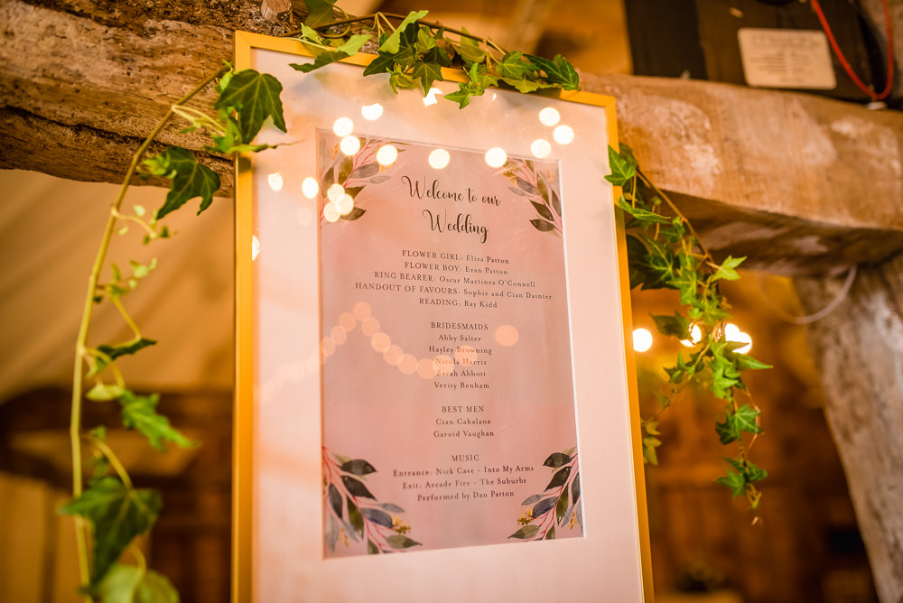 Sign Signs Signage Colville Hall Wedding GK Photography