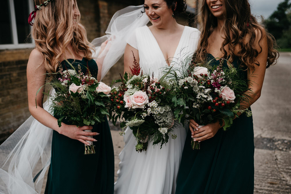 Bouquet Flowers Bride Bridal Rose Astilbe Berry Cotswold Woodland Glamping Wedding Elaine Williams Photography