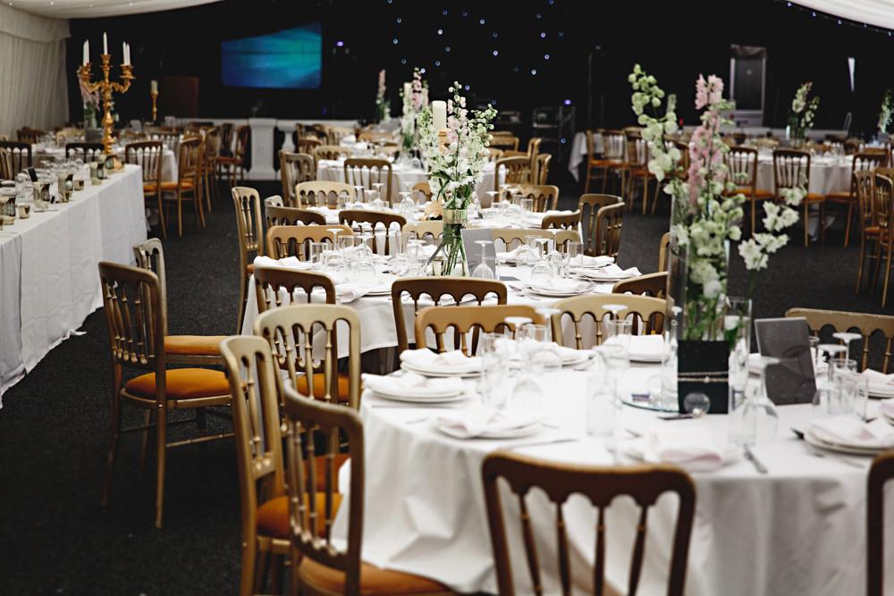Round Tables Flowers Centrpeice Dunchurch Park Hotel Wedding HBA Photography