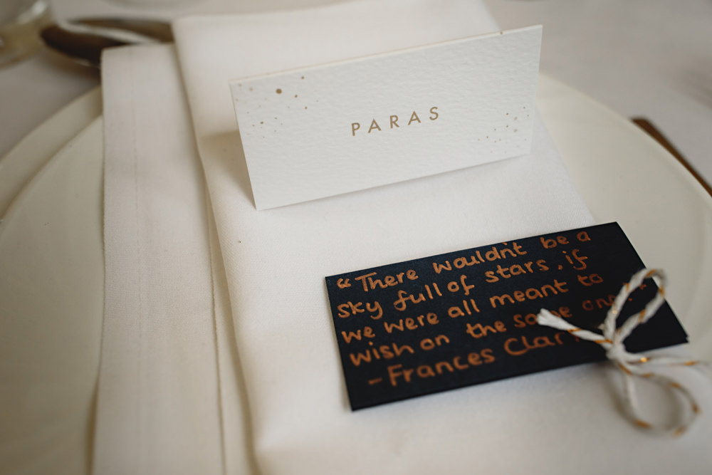 Place Setting Name Card Dunchurch Park Hotel Wedding HBA Photography