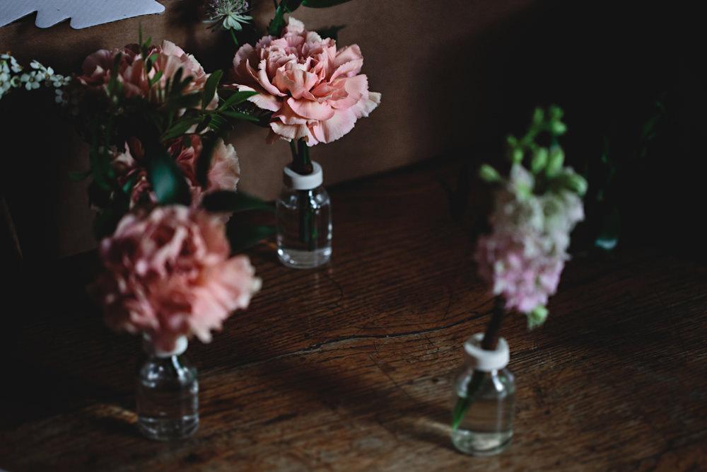 Flowers In Bottles Dunchurch Park Hotel Wedding HBA Photography