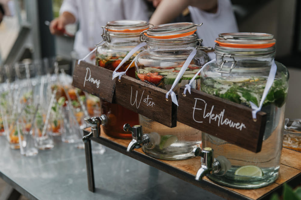 Drinks Dispensers Bar Stand Station Field Kitchen Wedding Siobhan Amy Photography