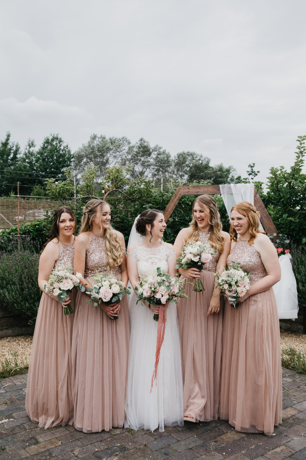 Bridesmaids Bridesmaid Dress Dresses Rose Gold Sequin Field Kitchen Wedding Siobhan Amy Photography