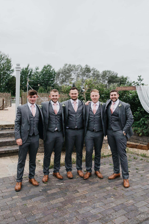 Groom Groomsmen Grey Suit Pink Tie Field Kitchen Wedding Siobhan Amy Photography