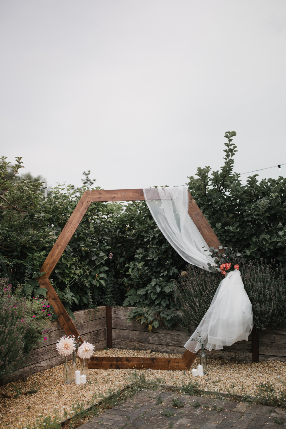 Hexagon Arch Backdrop Flowers Field Kitchen Wedding Siobhan Amy Photography