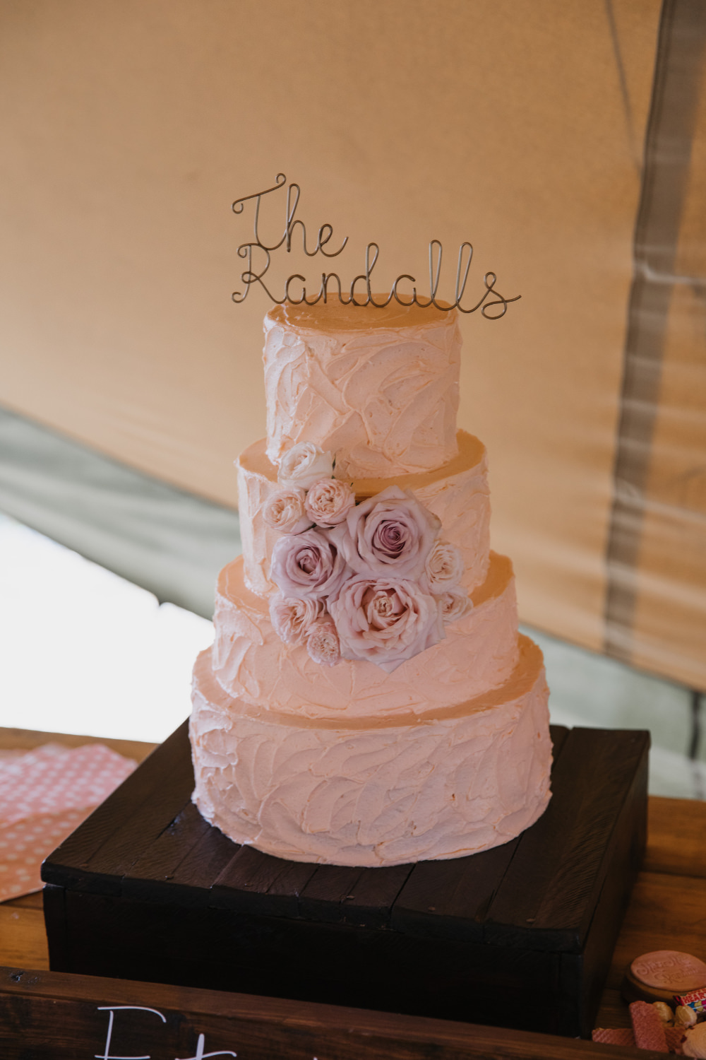 Buttercream Cake Floral Flowers Pink Rose Wire Topper Field Kitchen Wedding Siobhan Amy Photography