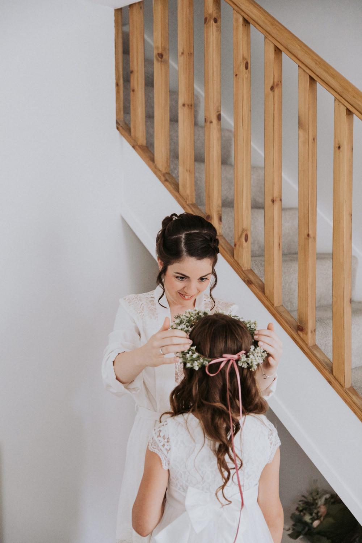 Flower Girl Flower Crown Field Kitchen Wedding Siobhan Amy Photography