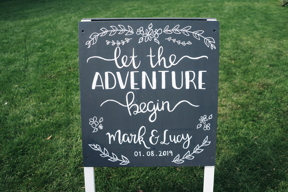 Sign Signs Signage Blackboard Chalk Hammer and Pincers Wedding Sally T Photography