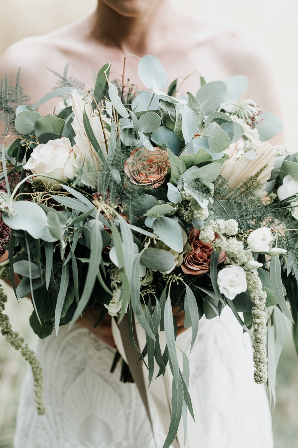Micro Wedding Ideas Gareth J Photography Bride Bridal Bouquet Flowers Rose Lisianthus Ammi Amaranthus Astrantia Eucalyptus Birch Asparagus Dried Palm Spears