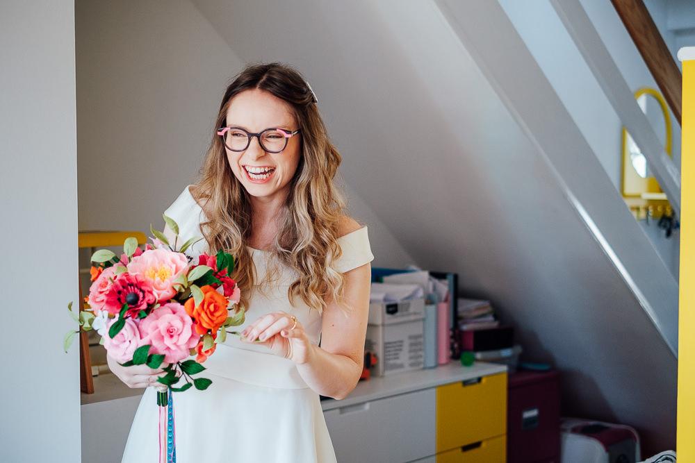 Bride Bridal Dress Gown Short Tea Length Glasses Pandemic Wedding Anna Pumer Photography