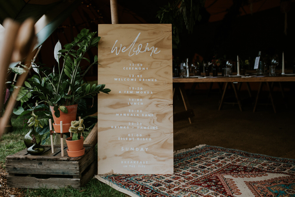Welcome Sign Signs Signage Modern Calligraphy Pennard Hill Farm Wedding MT Studio