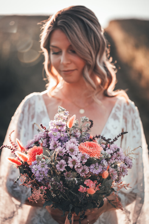 Bouquet Flowers Bride Bridal Lilac Red Wild Poppy Field Wedding NT Creatives