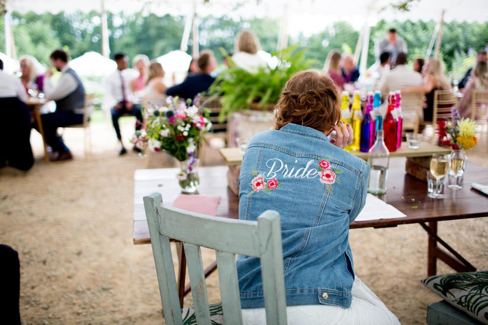 Bride Bridal Denim Jacket Pythouse Kitchen Garden Wedding Jessica Hayman Photography