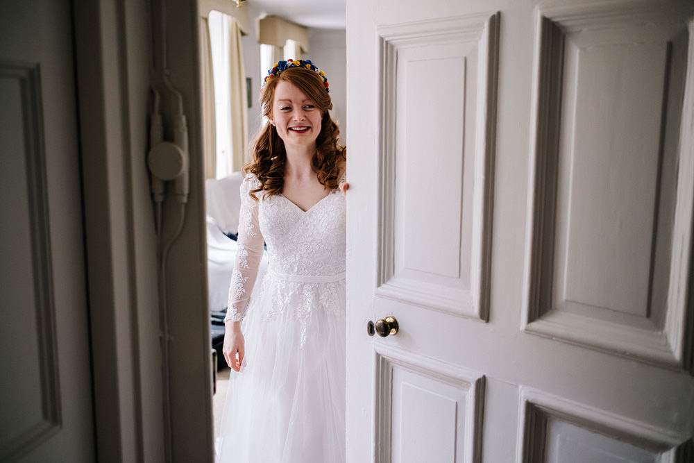 Dress Gown Bride Bridal Lace Sleeves David's Bridal Royal Hospital Chelsea Wedding Kristian Leven Photography