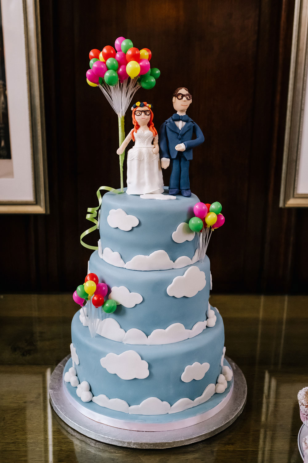 Cloud Cake Balloons Toppers Bride Groom Royal Hospital Chelsea Wedding Kristian Leven Photography