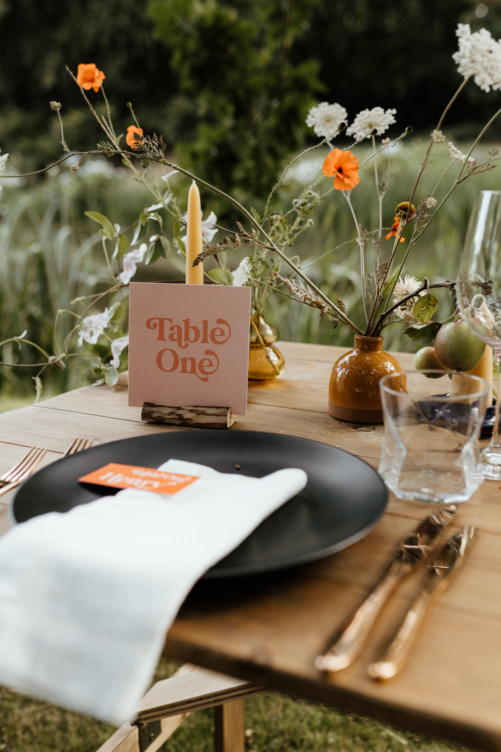 Place Setting Black Plate Stationery Flowers Small Wedding Ideas UK Caitlin and Jones