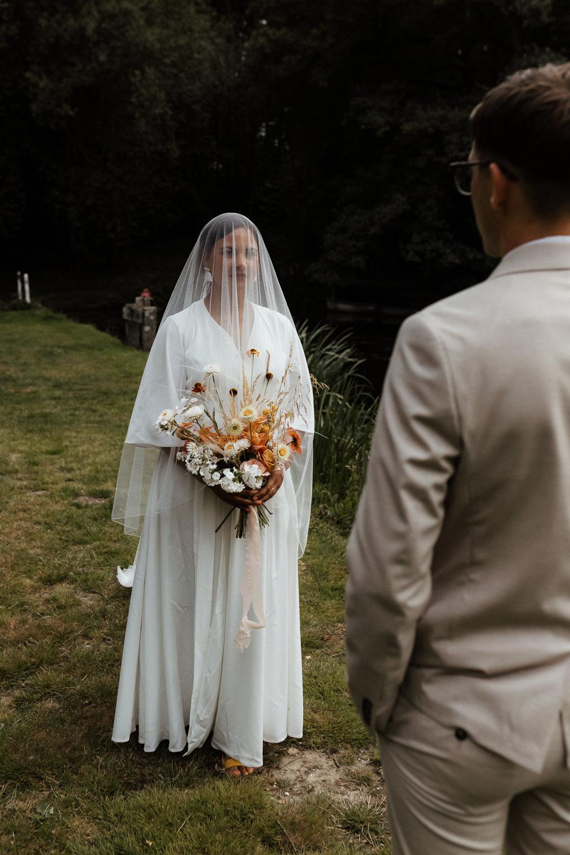 First Look Small Wedding Ideas UK Caitlin and Jones