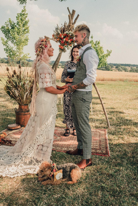 Dreamcatcher Decor Backdrop Ceremony Arch Flowers Rug Outdoor Boho Wedding Ideas Roshni Photography