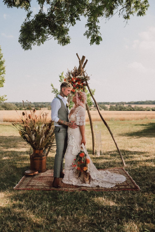 Boho Wedding Ideas Roshni Photography Dreamcatcher Decor Backdrop Ceremony Arch Flowers Rug Outdoor
