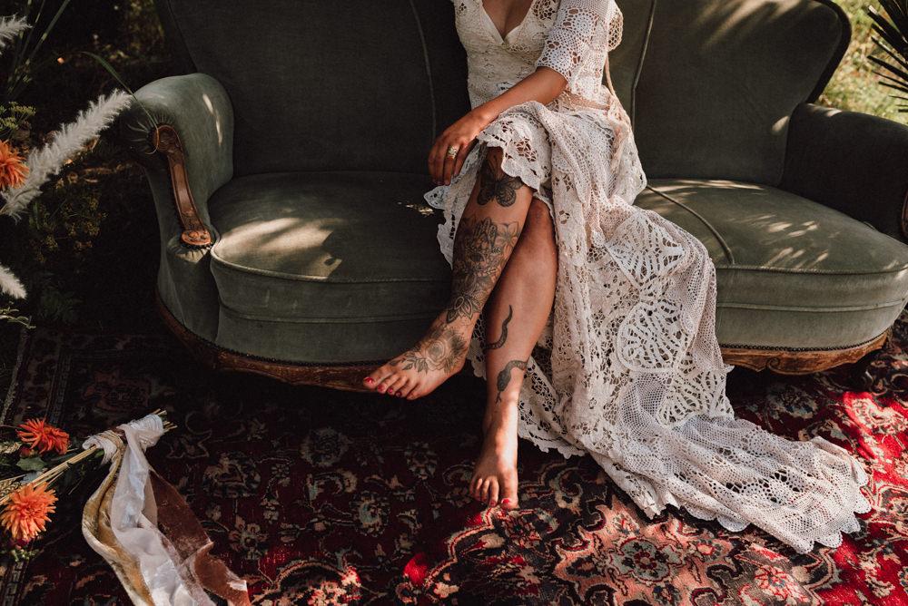 Dress Gown Bride Bridal Lace Tassel Fringe Train Open Back Boho Wedding Ideas Roshni Photography