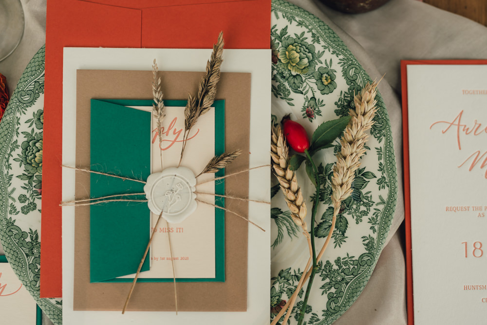 Stationery Invite Invitation Orange Teal Boho Wedding Ideas Roshni Photography