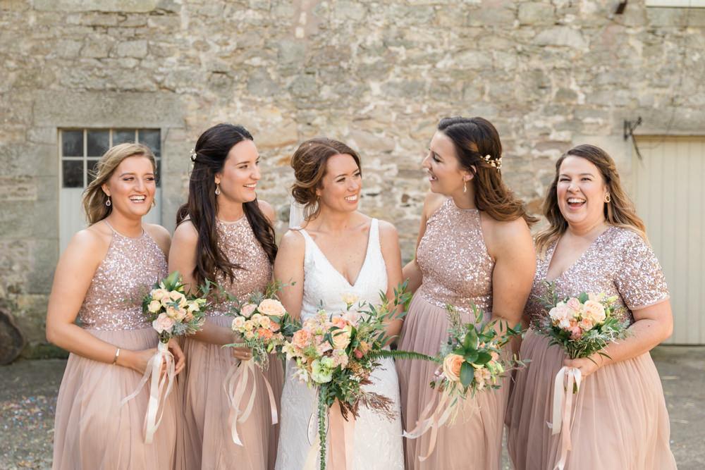 Bridesmaid Bridesmaids Dress Dresses Sequin Blush Doxford Barns Wedding Lara Frost Photography