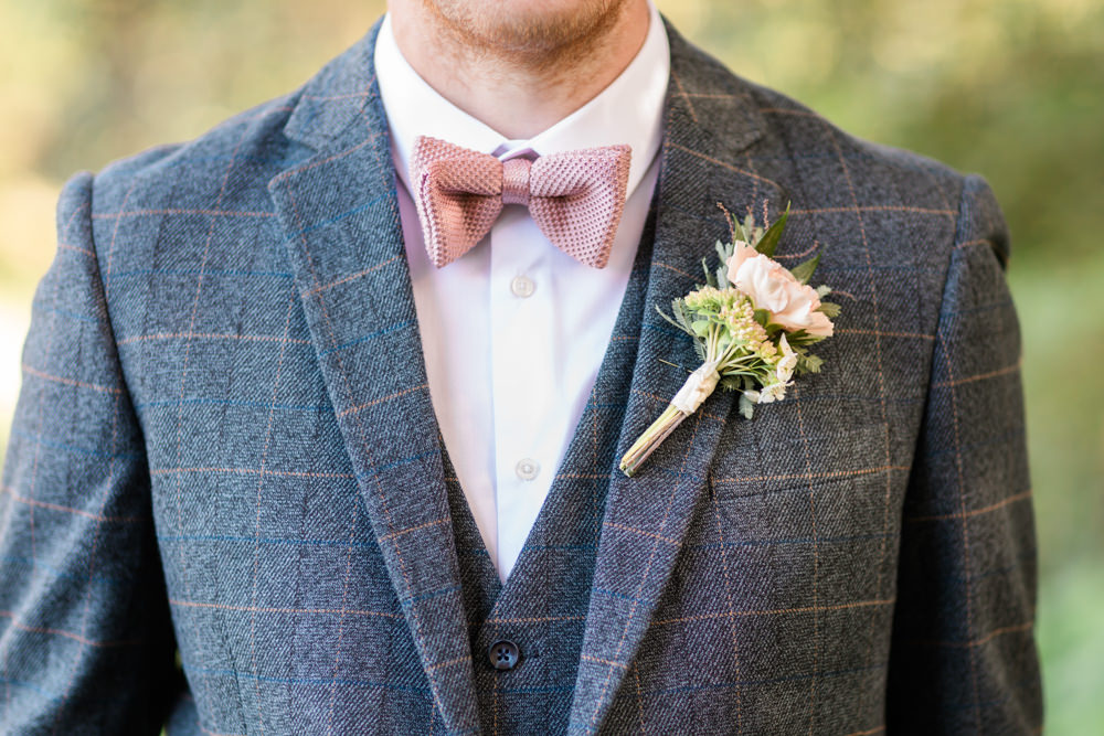 Groom Groomsmen Suit Pink Bow Tie Buttonhole Doxford Barns Wedding Lara Frost Photography