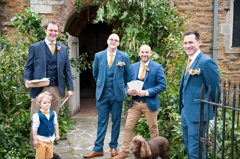 Groom Suit Blue Mustard Tie Groomsmen Floral Wedding Rachael Connerton Photography