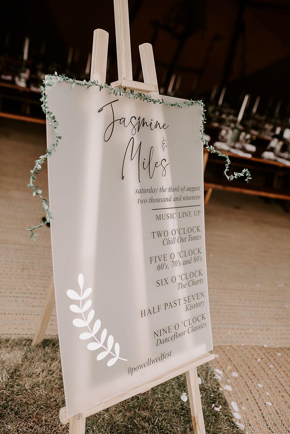 Clear Acrylic Sign Signs Signage Glevering Hall Wedding Sharon Cudworth Photography
