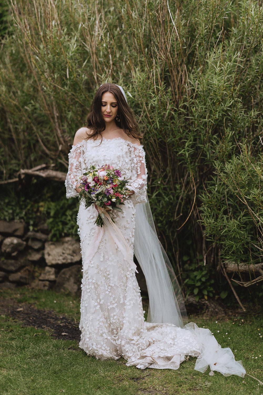 Bride Bridal Dress Gown Marchesa Applique Texture Veil Marquee Wedding Wales Fox & Bear Photography