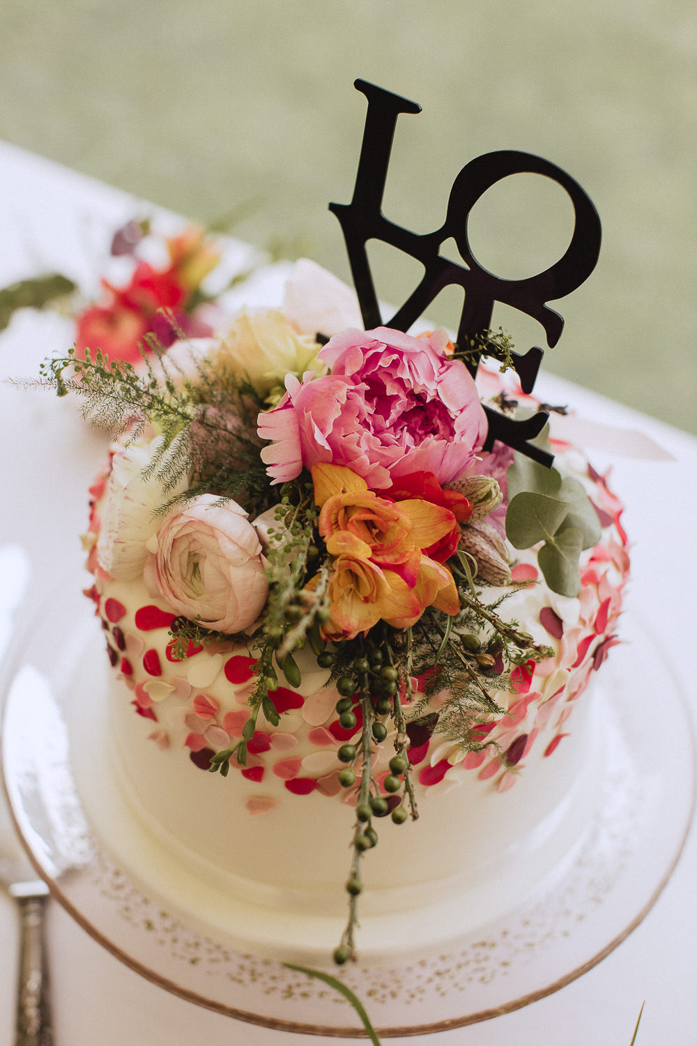 Floral Cake LOVE Topper Marquee Wedding Wales Fox & Bear Photography
