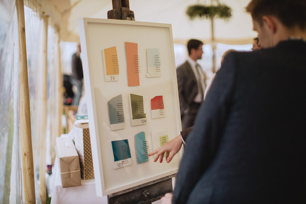 Table Plan Seating Chart Art Colours Marquee Wedding Wales Fox & Bear Photography