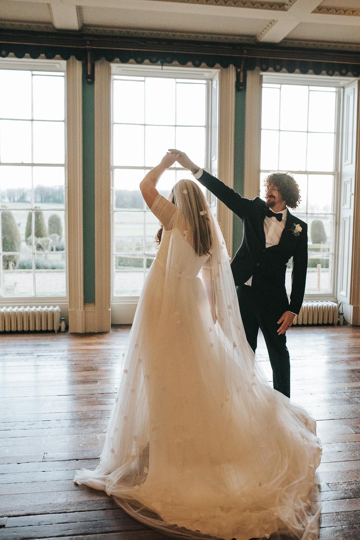 Bride Bridal Veil Petal Long Dress Gown Train Prestwold Hall Wedding Pear & Bear Photography