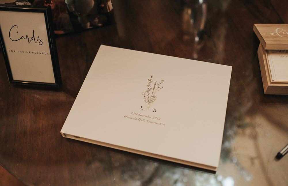 Guest Book Prestwold Hall Wedding Pear & Bear Photography
